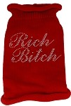 Rich Bitch Rhinestone Knit Pet Sweater SM Red